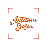 Autumn Season lettering. Hand drawn composition. Sketch, design elements for cards, prints, banners, posters and more. Vector illustration Stock Images