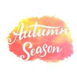 Autumn Season lettering. Hand drawn composition. Sketch, design elements for cards, prints, banners, posters and more. Vector illustration Royalty Free Stock Photo