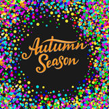 Autumn Season lettering. Hand drawn composition. Sketch, design elements for cards, prints, banners, posters and more. Vector illustration Royalty Free Stock Image