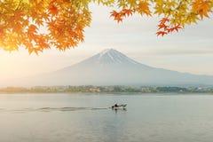 Autumn season and mountain Fuji in morning with red leaves maple. At lake Kawaguchi, Japan. Autumn season in Japan stock image