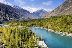 Autumn season in Pakistan. View of autumn season on the way from Gahkuch to Hunza in Pakistan royalty free stock image