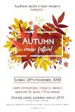 Autumn season party festival invite poster banner Vector waterco. Lor style card design  border frame: colorful orange yellow orange red fall leaves forest maple Royalty Free Stock Images