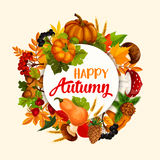 Autumn season poster design with leaf and pumpkin Royalty Free Stock Images