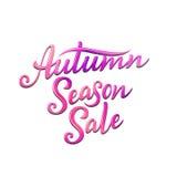 Autumn Season Sale, mano escrita poniendo letras al ejemplo Plantilla para su diseño - tarjetas, impresiones, banderas, carteles  Imagen de archivo