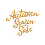 Autumn Season Sale, mano escrita poniendo letras al ejemplo Plantilla para su diseño - tarjetas, impresiones, banderas del vector Foto de archivo libre de regalías