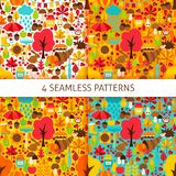 Autumn Season Seamless Patterns Royalty-vrije Stock Afbeelding