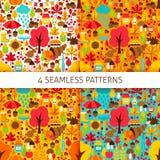 Autumn Season Seamless Patterns Imagen de archivo libre de regalías