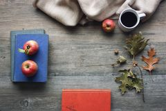 Autumn season still life with red apples, books, blanket, black coffee cup and fall leaves over rustic wooden background. Knolling concept Royalty Free Stock Photography