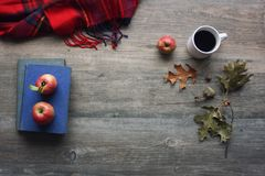 Autumn season still life with red apples, books, red plaid blanket, black coffee cup and fall leaves over rustic wooden background. Knolling concept. Aerial Stock Photography