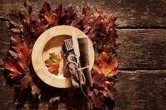 Autumn season theme tableware arrangement Stock Image
