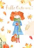 Autumn season watercolor raster banner, greeting card template