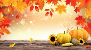 Autumn seasonal background with red falling leaves and fall decorations on wooden plank. Colorful Autumn seasonal background with red falling leaves and fall stock illustration
