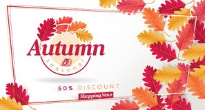 Autumn Seasonal Discount Card et bannière de Web de vecteur Images libres de droits