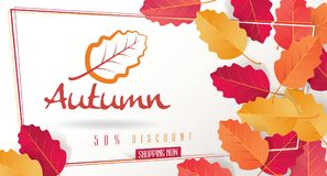 Autumn Seasonal Discount Card et bannière de Web de vecteur Photos stock