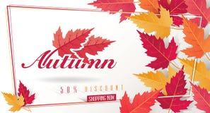Autumn Seasonal Discount Card och vektorrengöringsdukbaner vektor illustrationer