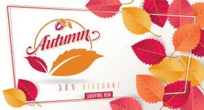 Autumn Seasonal Discount Card och vektorrengöringsdukbaner stock illustrationer