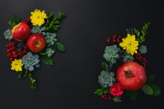 Autumn seasonal holidays floral greeting card template Stock Photo