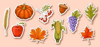 Autumn Seasonal Icons Signs Collection isolou-se no bege ilustração do vetor