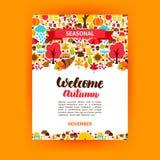 Autumn Seasonal Poster ilustração stock
