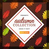 Autumn Seasonal Poster mit buntem Autumn Leaves Template Design vektor abbildung