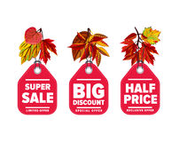 Autumn seasonal sale badges set Stock Photo