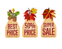 Autumn seasonal sale badges set Stock Photos