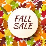 Autumn seasonal sale label. Vector illustration EPS 10. Fall sale. Autumn seasonal sale label on seamless autumnal leaves background. Vector illustration EPS 10 Stock Image