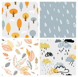 Autumn seasonal seamless retro style pattern set. Perfect for wallpaper, gift paper, pattern fills, web page background Royalty Free Stock Photography