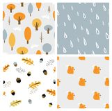 Autumn seasonal seamless retro style pattern set. Perfect for wallpaper, gift paper, pattern fills, web page background Stock Images