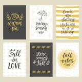 Autumn seasonal stickers and gift tags with hand written ink lettering and doodles. Gold and black. Modern calligraphy. Typographic design elements for posters Royalty Free Stock Photo