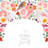 Autumn semicircle frame with wild rose, peony, pink ranunculus. Peachy carnation, fall leaves and small robin bird. Cute wedding floral vector design. All Royalty Free Stock Photo