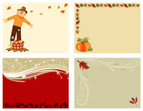 Autumn set of 4 cards Royalty Free Stock Images