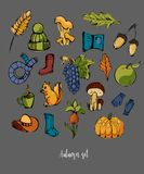 Autumn set of different colorful elements. Hat, mushroom, acorn, umbrella, pumpkin, grapes, rubber boots, squirrel,apple. Autumn set of different colorful royalty free illustration