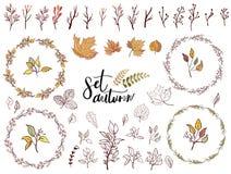Autumn set of fall themed circle shaped frames royalty free illustration