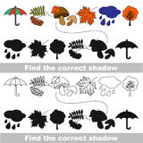 Autumn set. Find correct shadow. Royalty Free Stock Photography