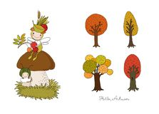 Autumn set. A forest fairy sits on a mushroom. - Vector. Illustration stock illustration