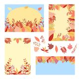 Autumn set of greeting cards. Leaves on blue and yellow background stock illustration