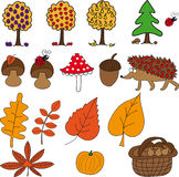 Autumn set with mushrooms, fruit, hedgehog, leaves, pumpkin and acorn Stock Photos