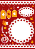 Autumn set for scrapbook with doily. Royalty Free Stock Photography