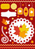 Autumn set for scrapbook with doily. Royalty Free Stock Photos