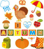 Autumn Set Textile Element Royalty Free Stock Images