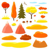 Autumn set of trees, mountains and hills. Seasonal collection.  Stock Photography
