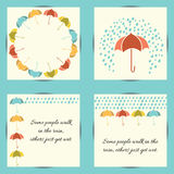 Autumn set with umbrella and rain. Round frame from umbrella. For any design. Grouped for easy editing. No open shapes or paths. Place for text Royalty Free Stock Images