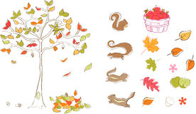Autumn set Vector. Fall Autumn set Vector Illustration