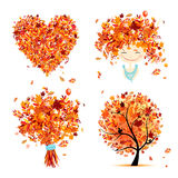 Autumn set for your design: girl bouquet tree, heart Royalty Free Stock Image