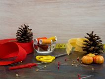 Autumn sewing scene with pine cones, pumpkins and sewing materials. royalty free stock photos