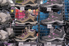 Autumn shoes in the sports shop Stock Image