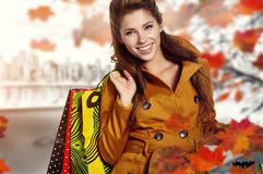 Autumn shopping stock photo