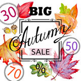 Autumn shopping advertising with leaves Stock Photography