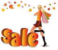 Autumn shopping girl,  Stock Image
